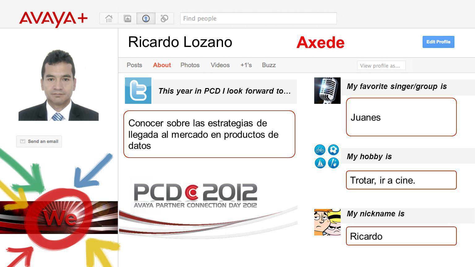 Ricardo Lozano This year in PCD I look forward to… Axede Conocer sobre las estrategias de llegada al mercado en productos de datos My favorite singer/