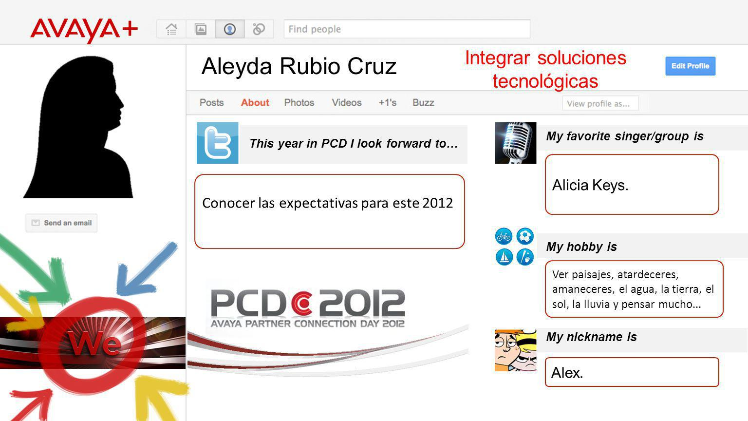 Aleyda Rubio Cruz This year in PCD I look forward to… Integrar soluciones tecnológicas Conocer las expectativas para este 2012 My favorite singer/group is My hobby is My nickname is Alicia Keys.