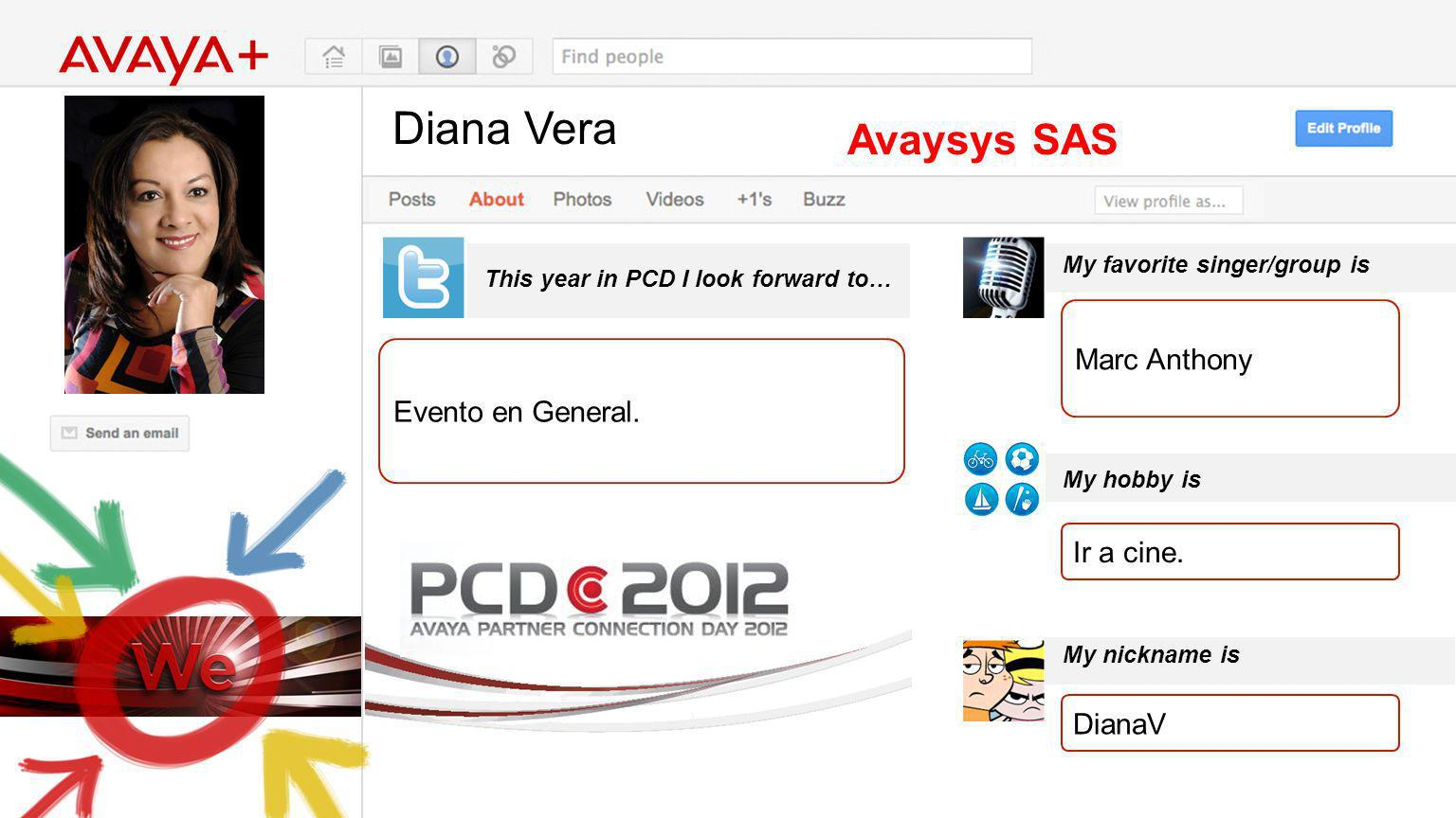 Diana Vera This year in PCD I look forward to… Avaysys SAS Evento en General. My favorite singer/group is My hobby is My nickname is Marc Anthony Ir a