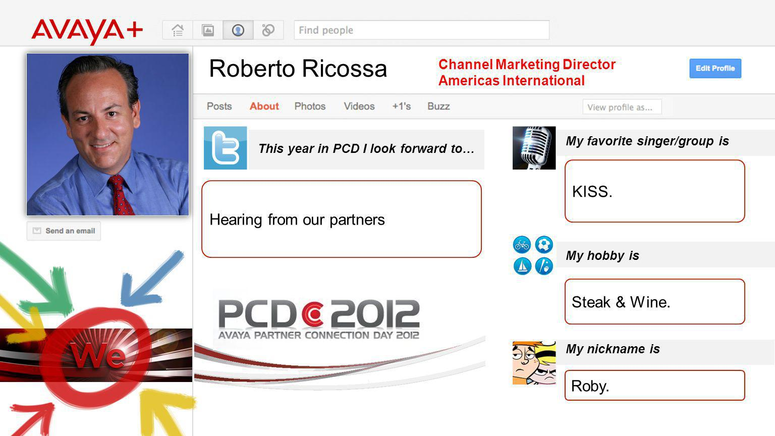 Roberto Ricossa This year in PCD I look forward to… Channel Marketing Director Americas International Hearing from our partners My favorite singer/group is My hobby is My nickname is KISS.