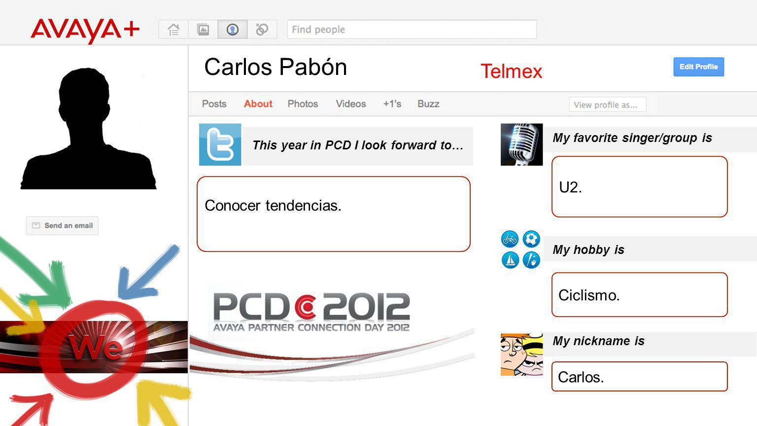 Carlos Pabón This year in PCD I look forward to… Telmex Conocer tendencias. My favorite singer/group is My hobby is My nickname is U2. Ciclismo. Carlo
