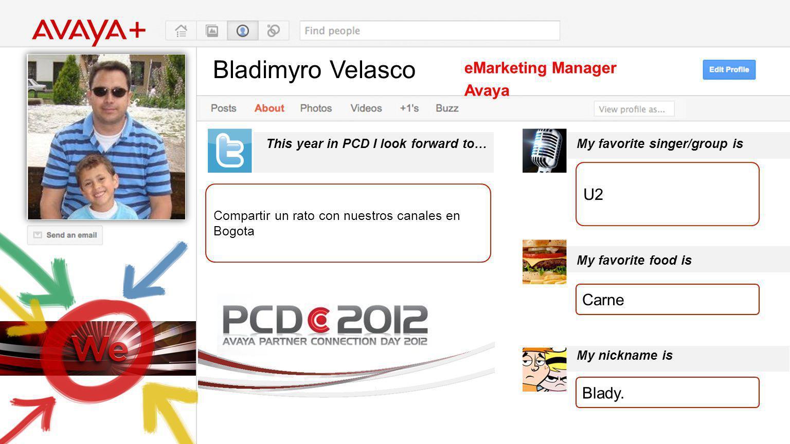 Bladimyro Velasco This year in PCD I look forward to… eMarketing Manager Avaya Compartir un rato con nuestros canales en Bogota My favorite singer/gro