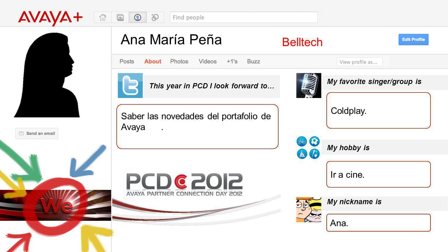 Ana María Peña This year in PCD I look forward to… Belltech Saber las novedades del portafolio de Avaya.