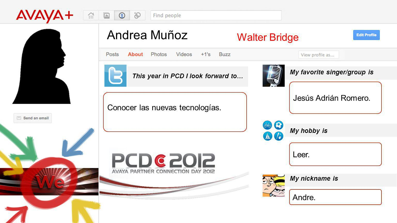 Andrea Muñoz This year in PCD I look forward to… Walter Bridge Conocer las nuevas tecnologías. My favorite singer/group is My hobby is My nickname is