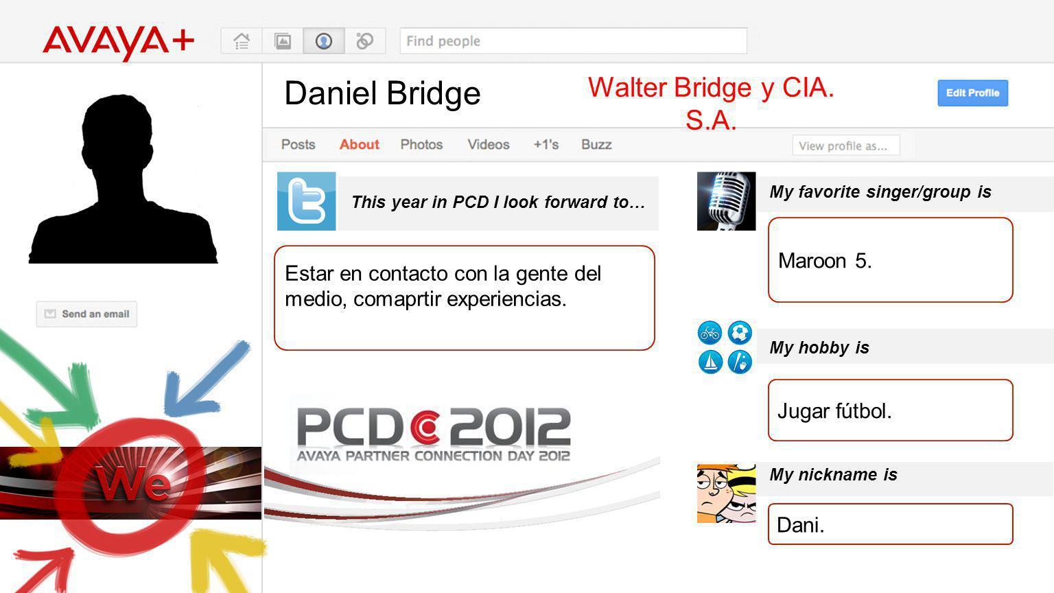 Daniel Bridge This year in PCD I look forward to… Walter Bridge y CIA. S.A. Estar en contacto con la gente del medio, comaprtir experiencias. My favor