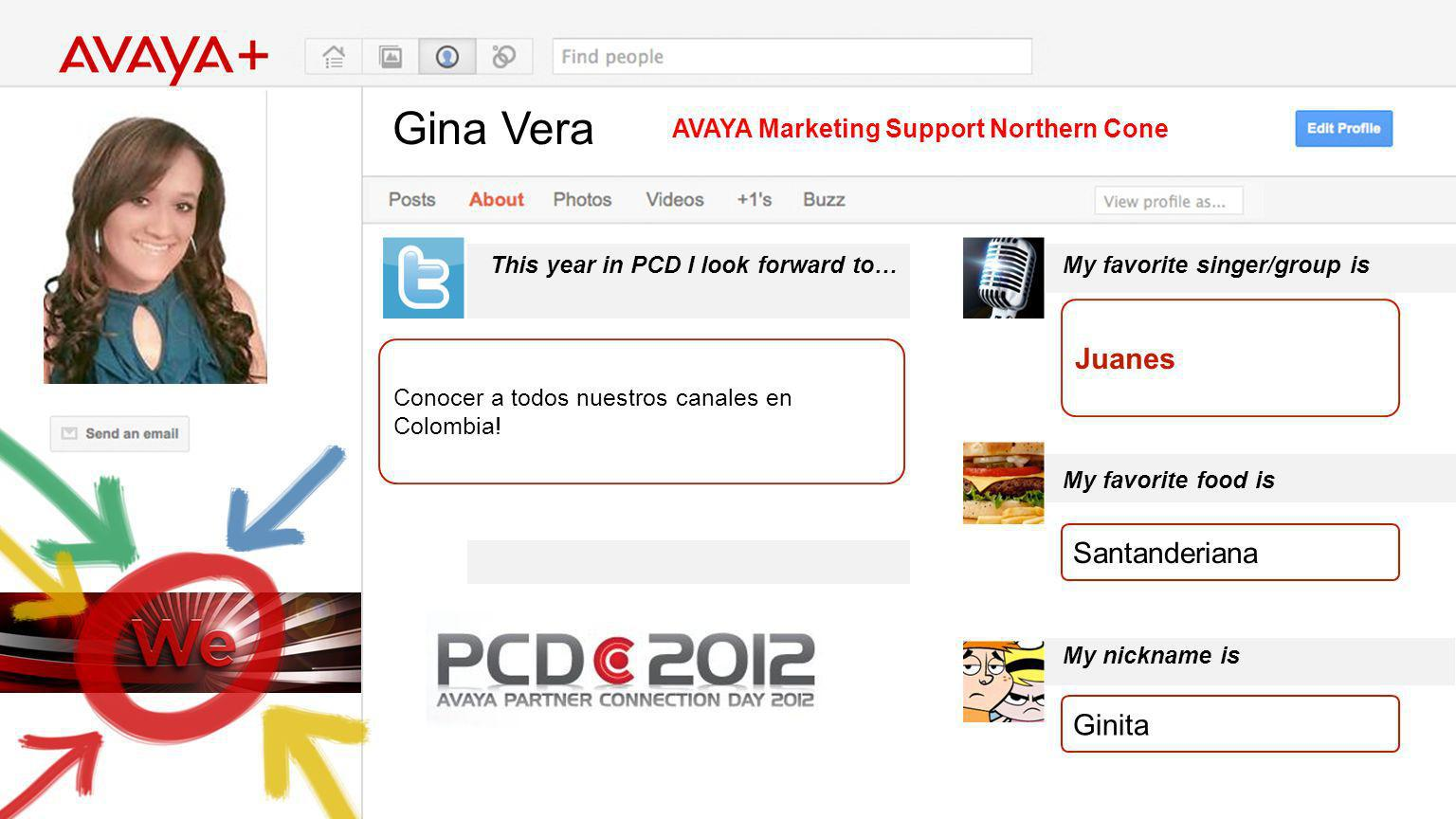 Gina Vera This year in PCD I look forward to… AVAYA Marketing Support Northern Cone Conocer a todos nuestros canales en Colombia.