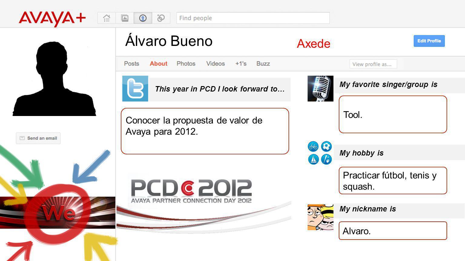 Álvaro Bueno This year in PCD I look forward to… Axede Conocer la propuesta de valor de Avaya para 2012. My favorite singer/group is My hobby is My ni