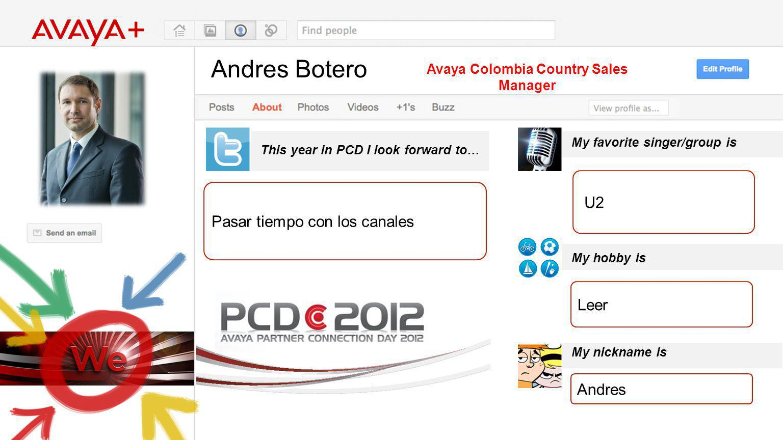 Andres Botero This year in PCD I look forward to… Avaya Colombia Country Sales Manager Pasar tiempo con los canales My favorite singer/group is My hobby is My nickname is U2 Leer Andres