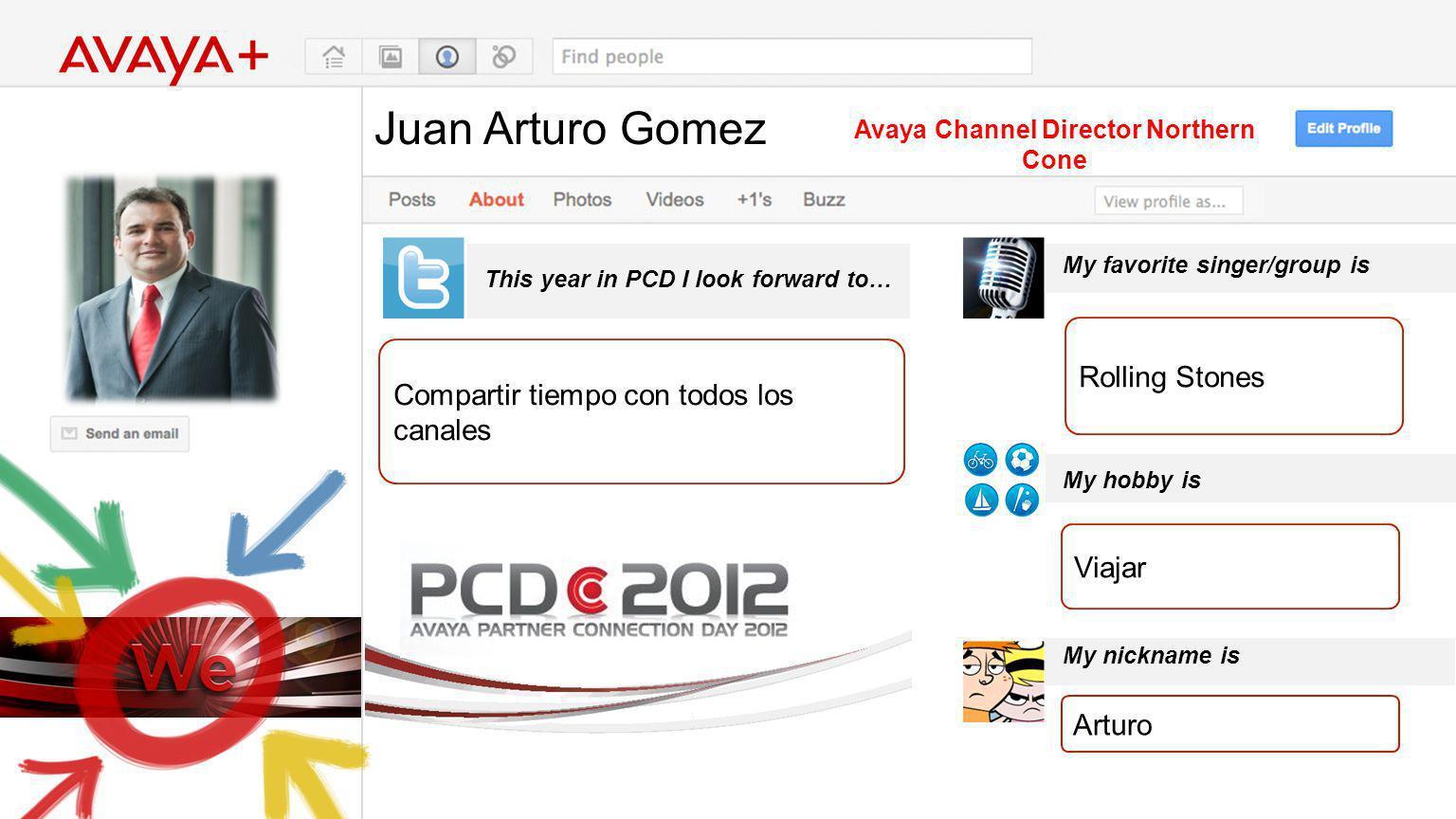 Juan Arturo Gomez This year in PCD I look forward to… Avaya Channel Director Northern Cone Compartir tiempo con todos los canales My favorite singer/g