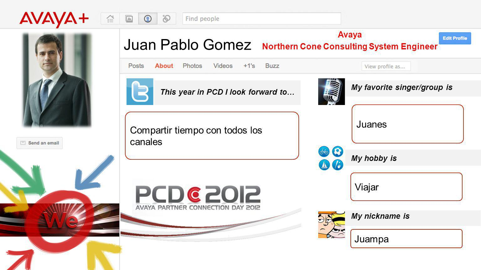 Juan Pablo Gomez This year in PCD I look forward to… Avaya Northern Cone Consulting System Engineer Compartir tiempo con todos los canales My favorite singer/group is My hobby is My nickname is Juanes Viajar Juampa