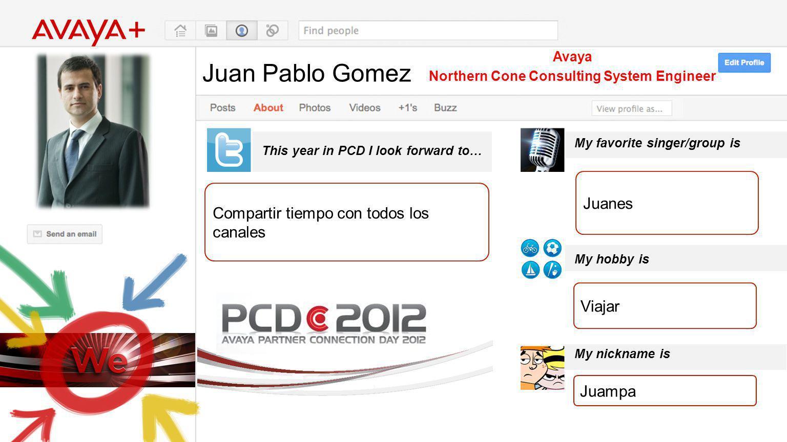 Juan Pablo Gomez This year in PCD I look forward to… Avaya Northern Cone Consulting System Engineer Compartir tiempo con todos los canales My favorite