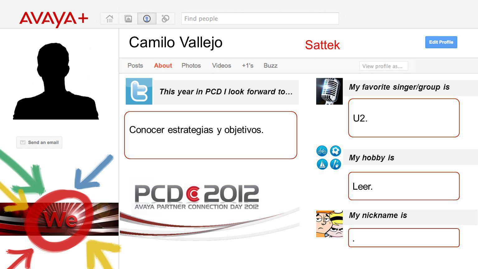 Camilo Vallejo This year in PCD I look forward to… Sattek Conocer estrategias y objetivos. My favorite singer/group is My hobby is My nickname is U2.