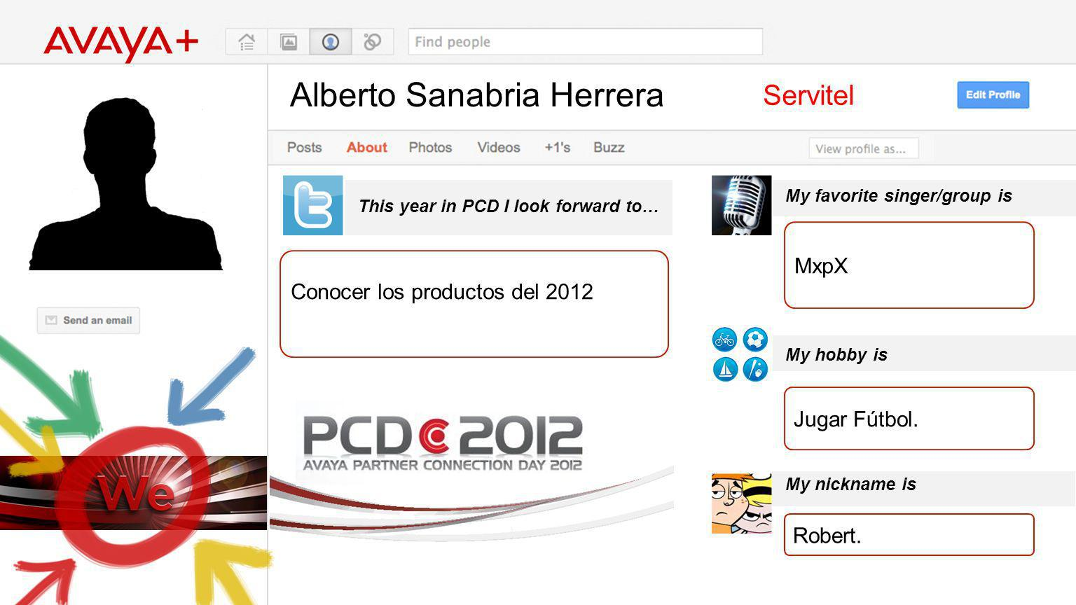 Alberto Sanabria Herrera This year in PCD I look forward to… Servitel Conocer los productos del 2012 My favorite singer/group is My hobby is My nickna