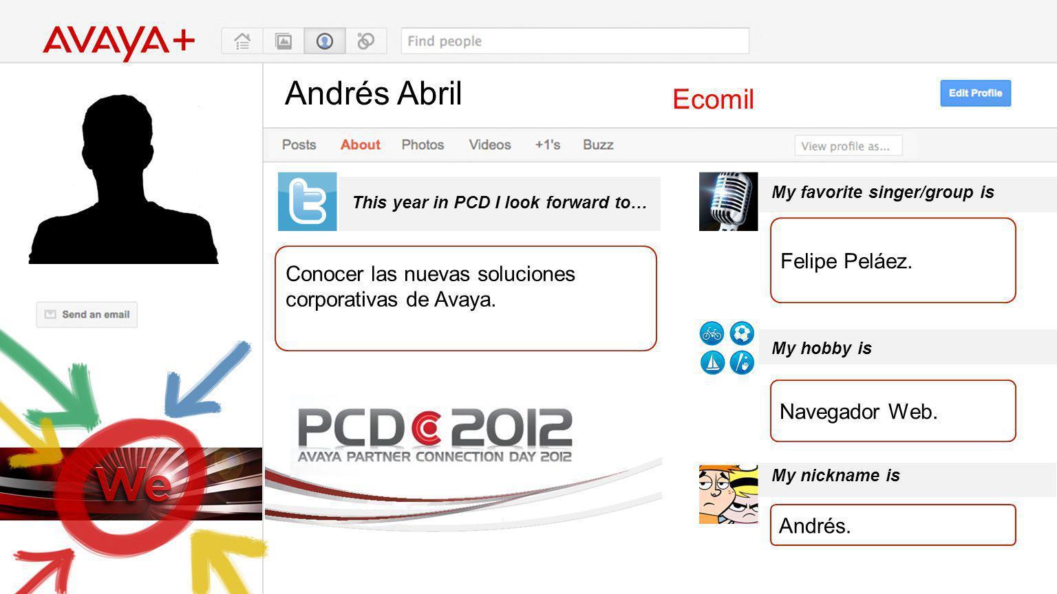 Andrés Abril This year in PCD I look forward to… Ecomil Conocer las nuevas soluciones corporativas de Avaya. My favorite singer/group is My hobby is M