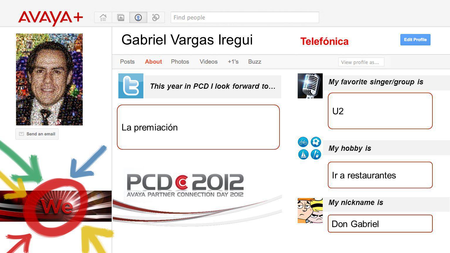 Gabriel Vargas Iregui This year in PCD I look forward to… Telefónica La premiación My favorite singer/group is My hobby is My nickname is U2 Ir a rest