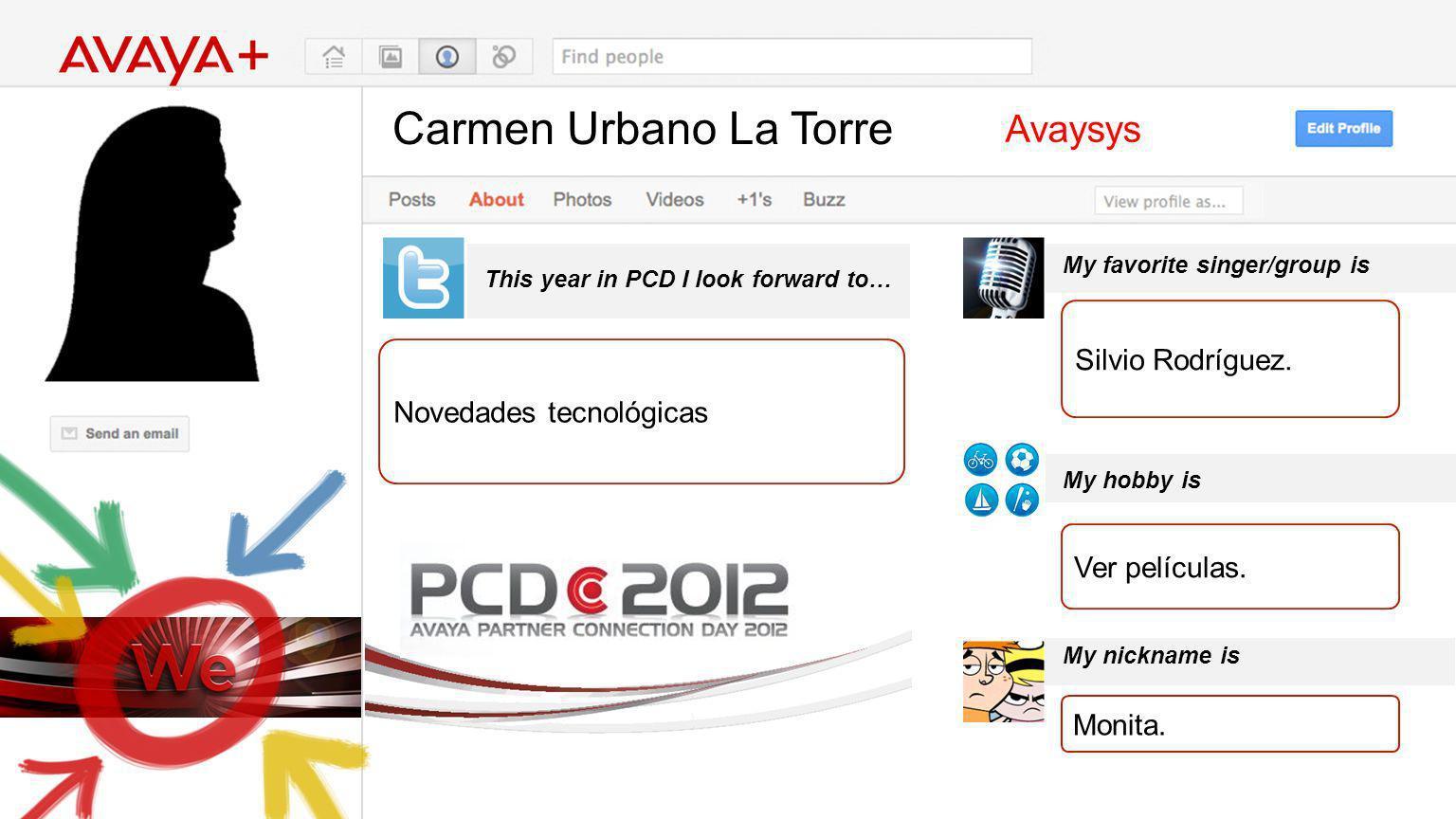 Carmen Urbano La Torre This year in PCD I look forward to… Avaysys Novedades tecnológicas My favorite singer/group is My hobby is My nickname is Silvi