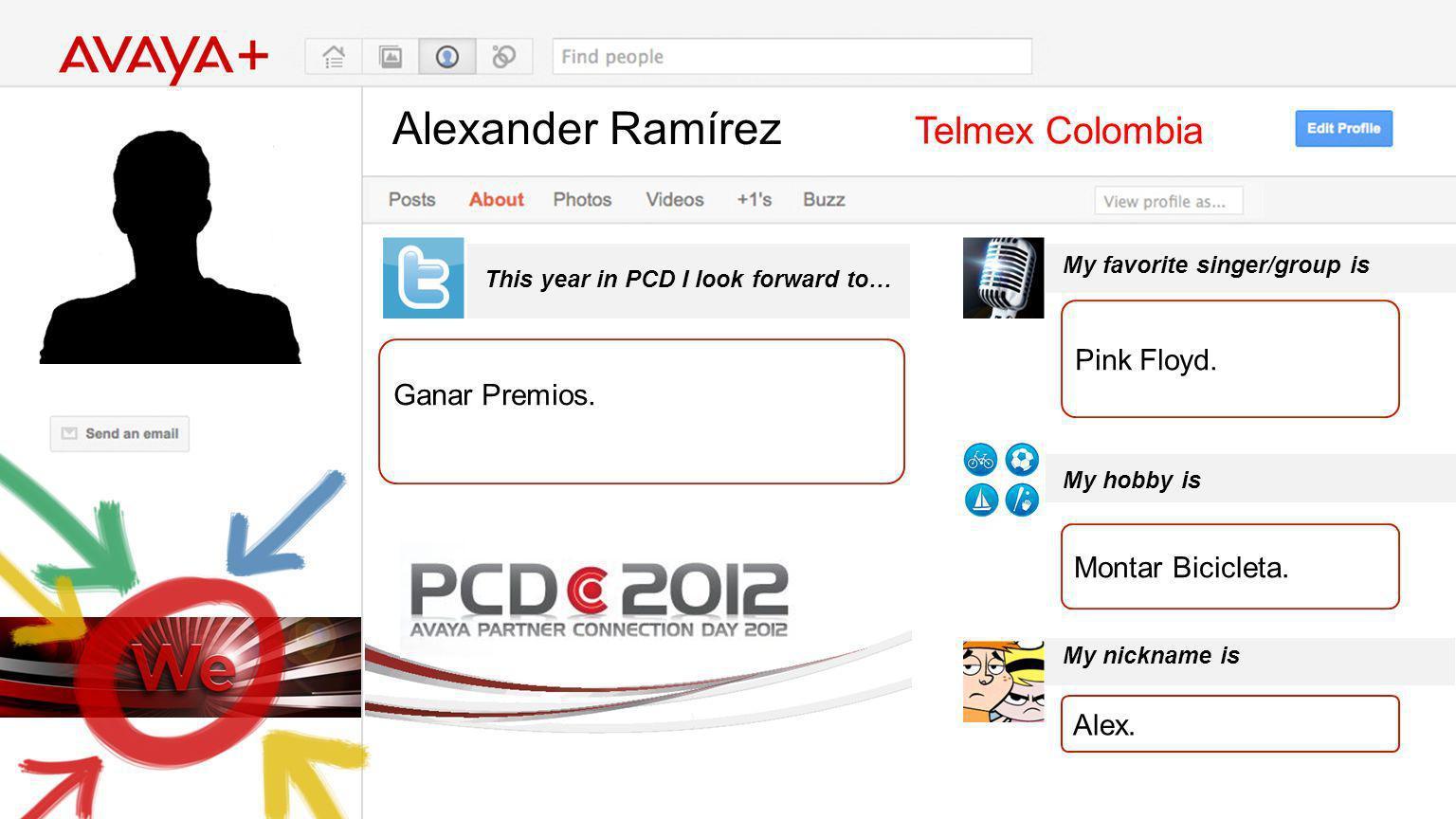 Alexander Ramírez This year in PCD I look forward to… Telmex Colombia Ganar Premios. My favorite singer/group is My hobby is My nickname is Pink Floyd