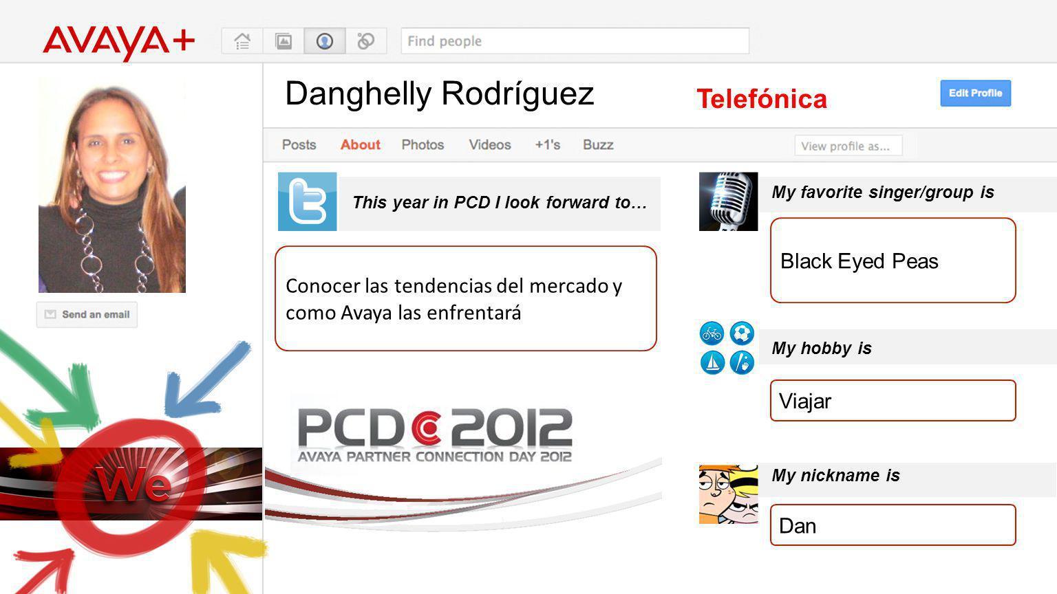 Danghelly Rodríguez This year in PCD I look forward to… Telefónica Conocer las tendencias del mercado y como Avaya las enfrentará My favorite singer/g