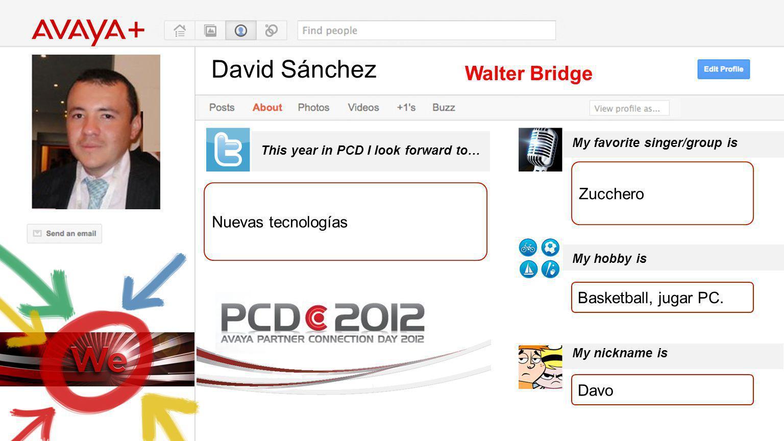 David Sánchez This year in PCD I look forward to… Walter Bridge Nuevas tecnologías My favorite singer/group is My hobby is My nickname is Zucchero Bas