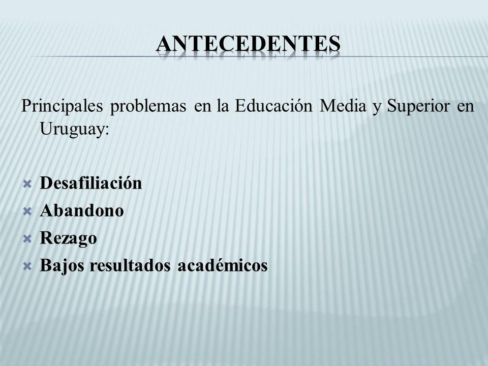 Principales problemas en la Educación Media y Superior en Uruguay: Desafiliación Abandono Rezago Bajos resultados académicos