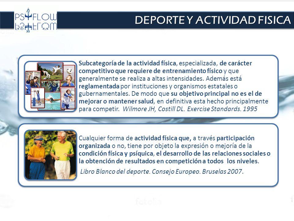 DEPORTE Y ACTIVIDAD FISICA Subcategoría de la actividad física, especializada, de carácter competitivo que requiere de entrenamiento físico y que gene