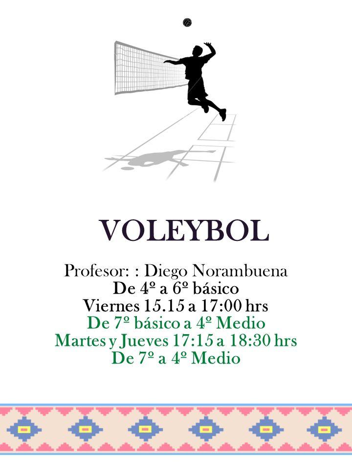 VOLEYBOL Profesor: : Diego Norambuena De 4º a 6º básico Viernes 15.15 a 17:00 hrs De 7º básico a 4º Medio Martes y Jueves 17:15 a 18:30 hrs De 7º a 4º Medio