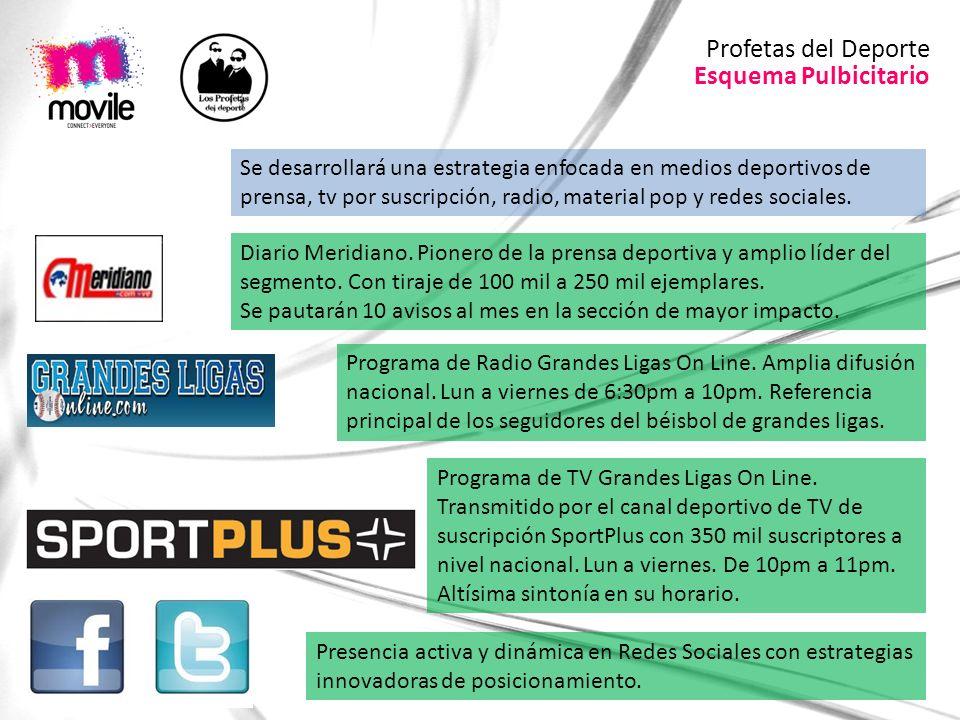 Esquema Pulbicitario Profetas del Deporte Se desarrollará una estrategia enfocada en medios deportivos de prensa, tv por suscripción, radio, material