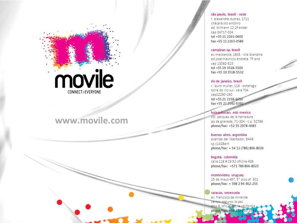 www.movile.com são paulo, brasil - sede r. alexandre dumas, 1711 chácara sto antônio ed. birmann 12 2º andar cep 04717-004 tel +55 11 2163-0600 fax +5