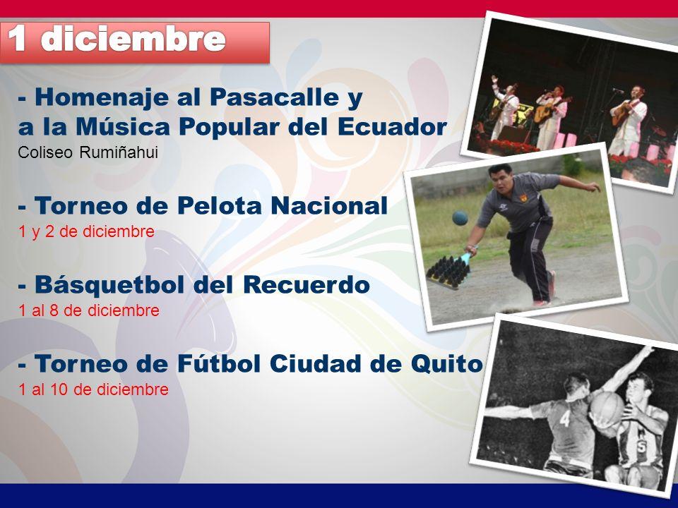 - Homenaje al Pasacalle y a la Música Popular del Ecuador Coliseo Rumiñahui - Torneo de Pelota Nacional 1 y 2 de diciembre - Básquetbol del Recuerdo 1 al 8 de diciembre - Torneo de Fútbol Ciudad de Quito 1 al 10 de diciembre