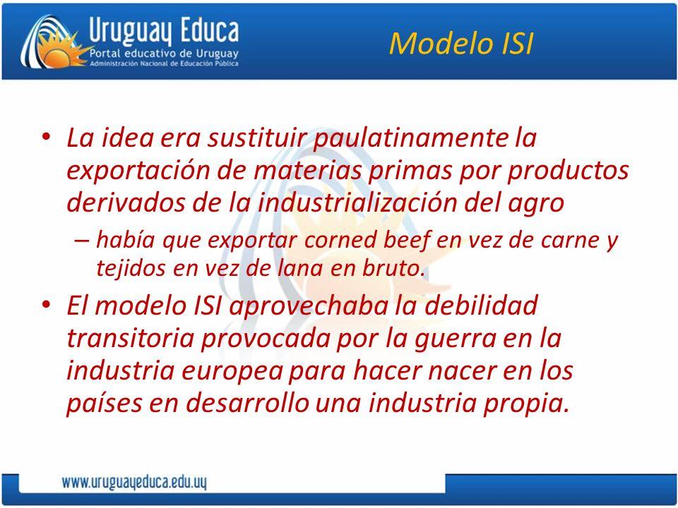 Modelo ISI La idea era sustituir paulatinamente la exportación de materias primas por productos derivados de la industrialización del agro – había que