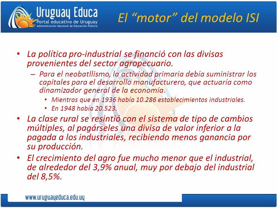 El motor del modelo ISI La política pro-industrial se financió con las divisas provenientes del sector agropecuario. – Para el neobatllismo, la activi