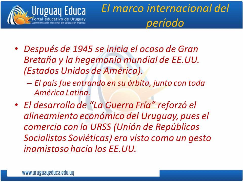 El marco internacional del período Después de 1945 se inicia el ocaso de Gran Bretaña y la hegemonía mundial de EE.UU. (Estados Unidos de América). –