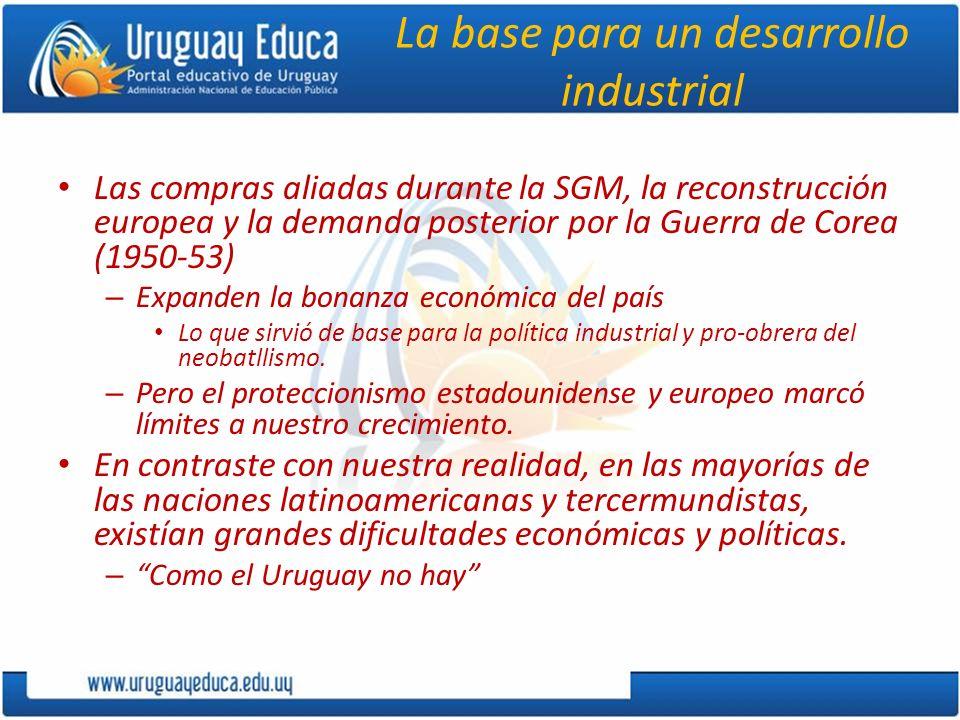 La base para un desarrollo industrial Las compras aliadas durante la SGM, la reconstrucción europea y la demanda posterior por la Guerra de Corea (195