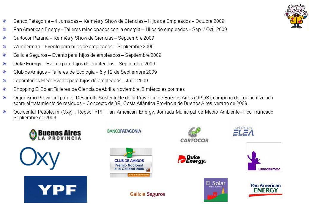 Banco Patagonia – 4 Jornadas – Kermés y Show de Ciencias – Hijos de Empleados – Octubre 2009 Pan American Energy – Talleres relacionados con la energí