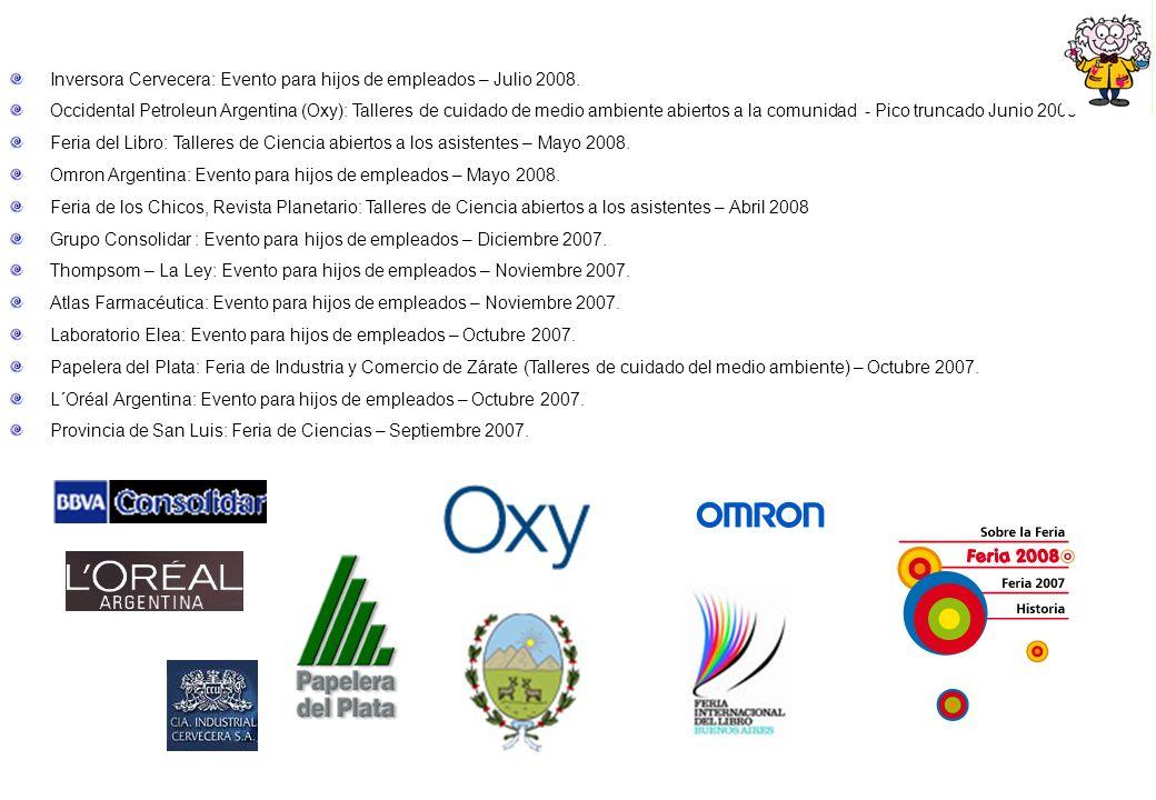 Inversora Cervecera: Evento para hijos de empleados – Julio 2008. Occidental Petroleun Argentina (Oxy): Talleres de cuidado de medio ambiente abiertos
