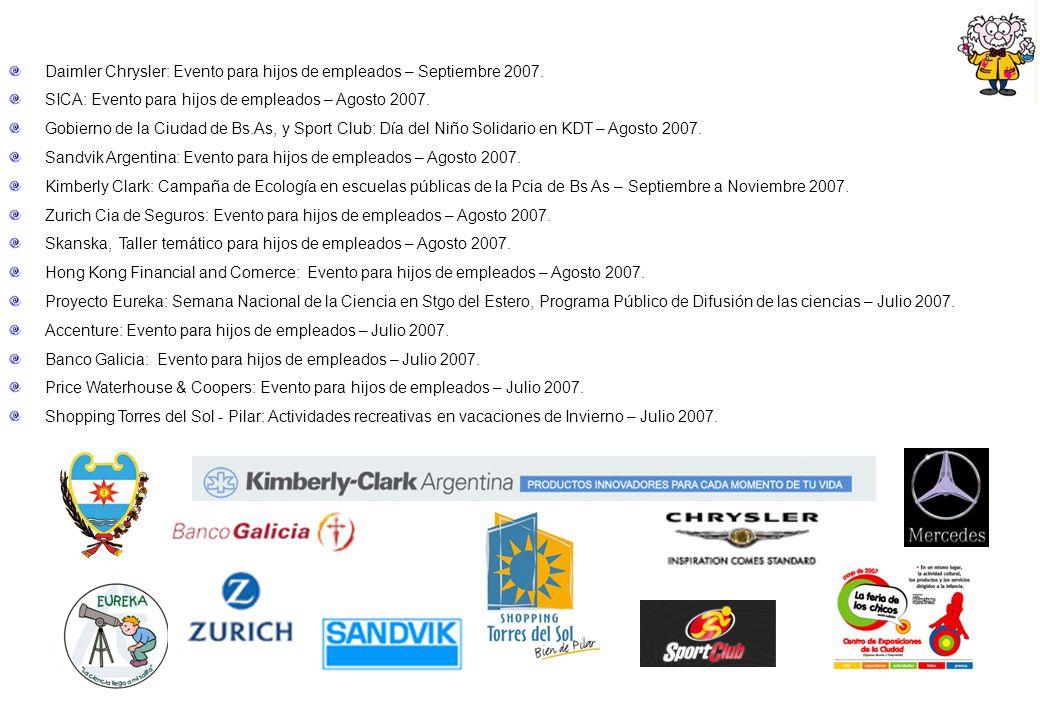 Daimler Chrysler: Evento para hijos de empleados – Septiembre 2007. SICA: Evento para hijos de empleados – Agosto 2007. Gobierno de la Ciudad de Bs.As