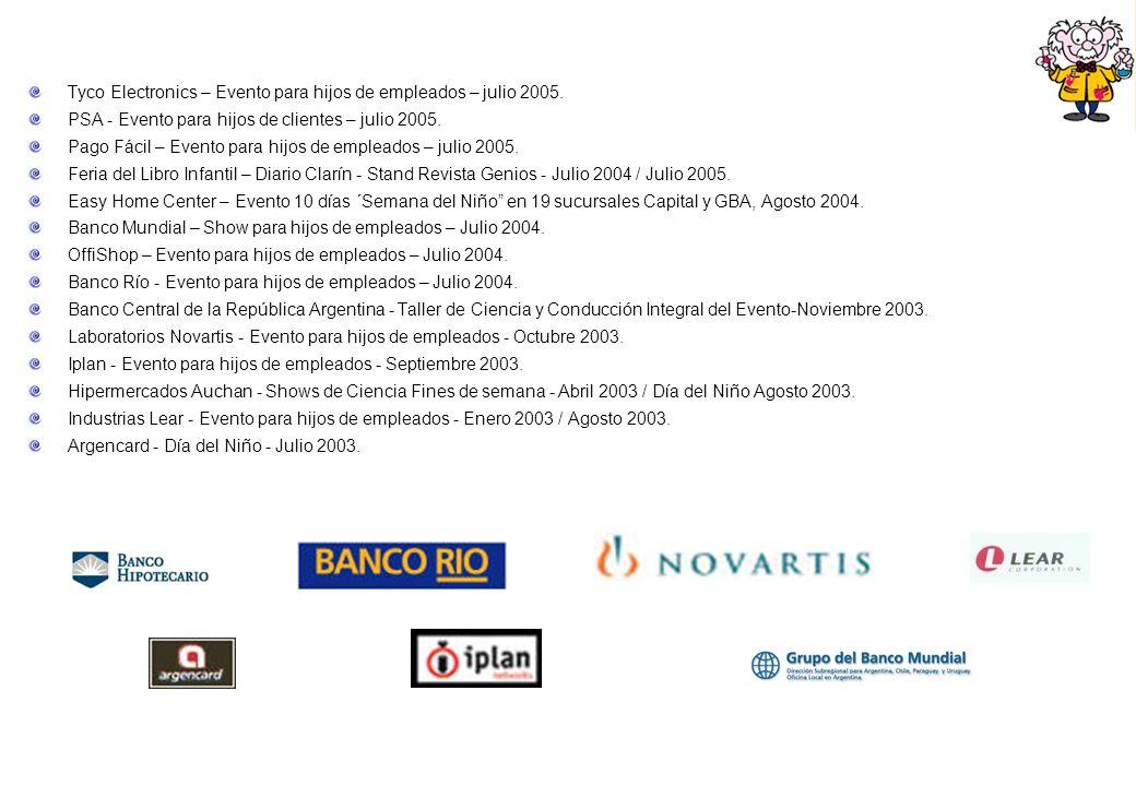 Tyco Electronics – Evento para hijos de empleados – julio 2005. PSA - Evento para hijos de clientes – julio 2005. Pago Fácil – Evento para hijos de em