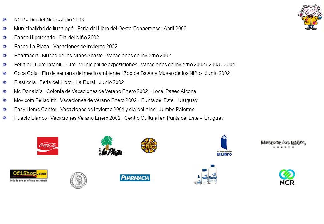 NCR - Día del Niño - Julio 2003 Municipalidad de Ituzaingó - Feria del Libro del Oeste Bonaerense - Abril 2003 Banco Hipotecario - Día del Niño 2002 P
