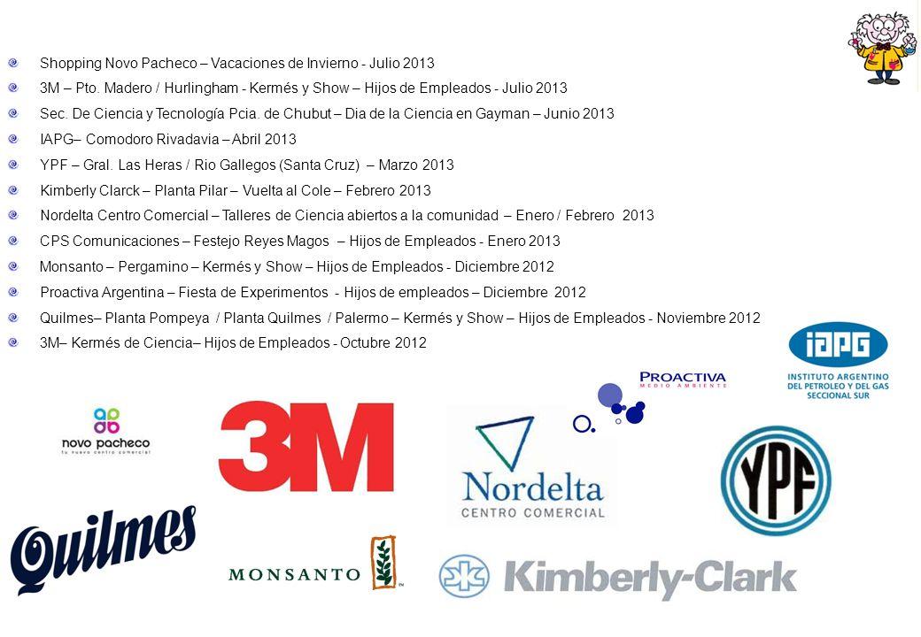 Shopping Novo Pacheco – Vacaciones de Invierno - Julio 2013 3M – Pto. Madero / Hurlingham - Kermés y Show – Hijos de Empleados - Julio 2013 Sec. De Ci