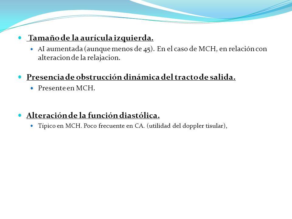 Tamaño de la aurícula izquierda. A I aumentada (aunque menos de 45). En el caso de MCH, en relación con alteracion de la relajacion. Presencia de obst