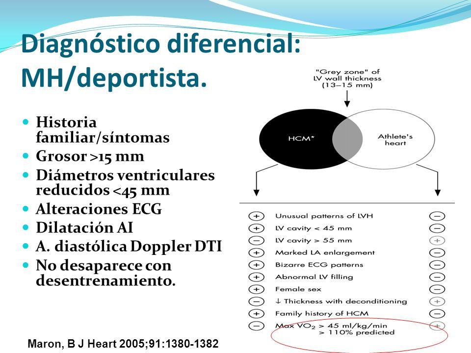 Diagnóstico diferencial: MH/deportista. Historia familiar/síntomas Grosor >15 mm Diámetros ventriculares reducidos <45 mm Alteraciones ECG Dilatación