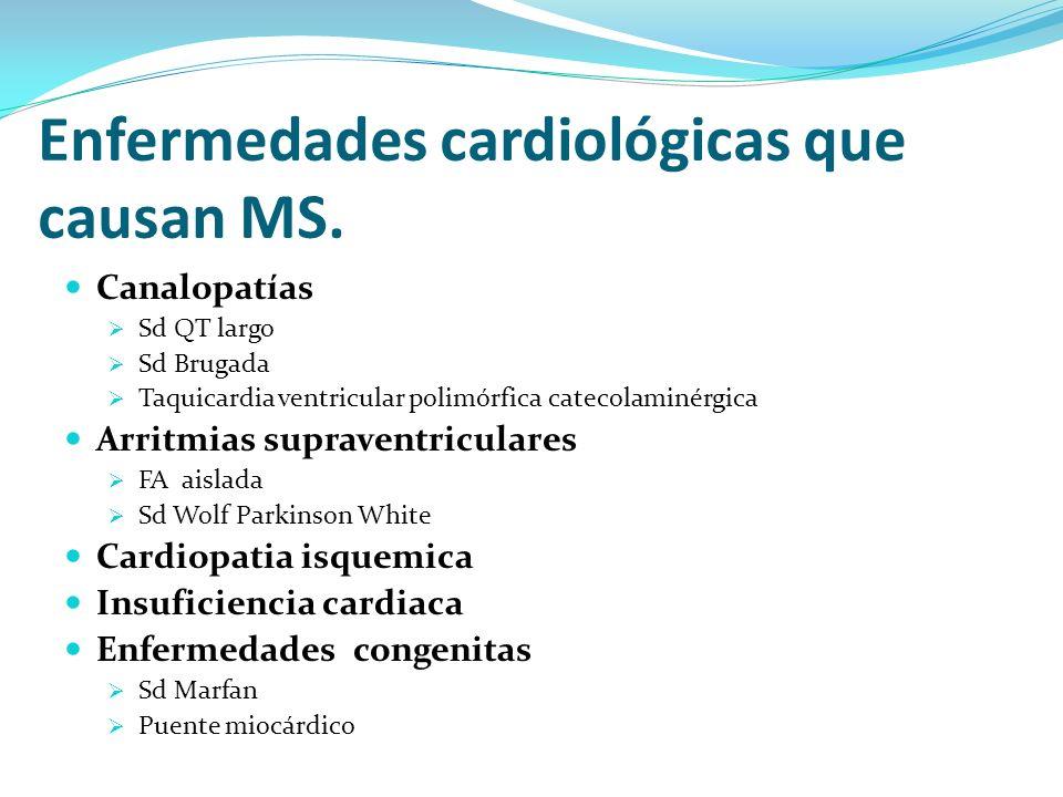 Canalopatías Sd QT largo Sd Brugada Taquicardia ventricular polimórfica catecolaminérgica Arritmias supraventriculares FA aislada Sd Wolf Parkinson Wh