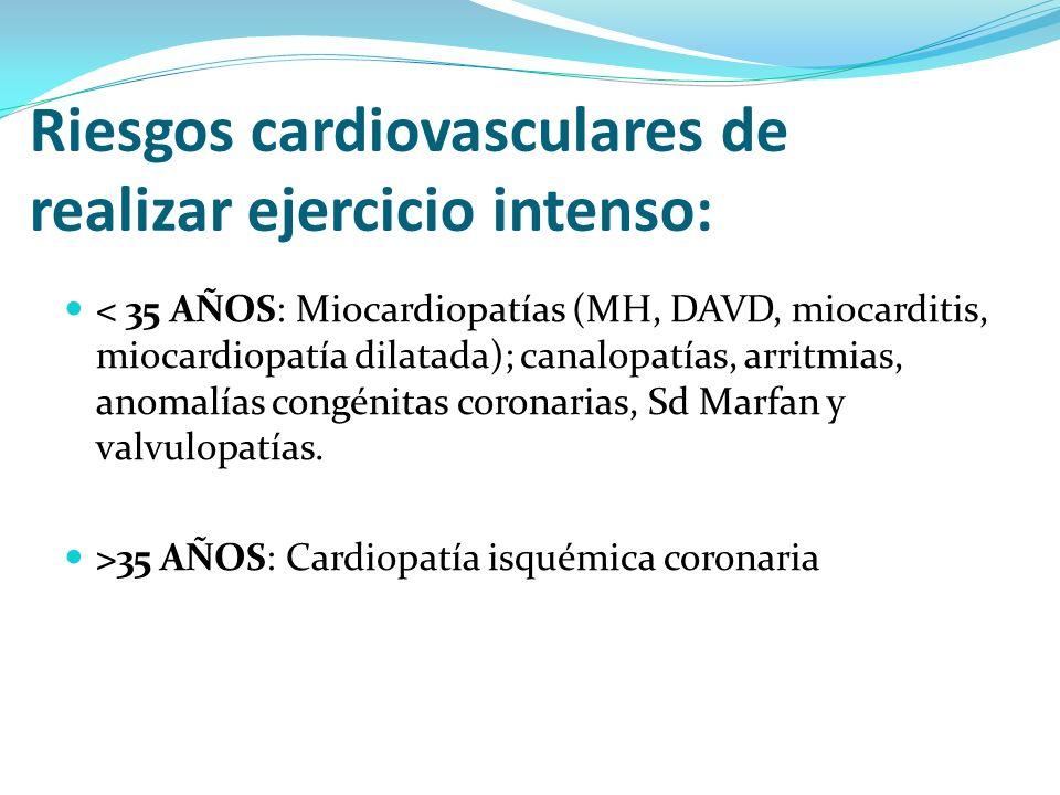Riesgos cardiovasculares de realizar ejercicio intenso: < 35 AÑOS: Miocardiopatías (MH, DAVD, miocarditis, miocardiopatía dilatada); canalopatías, arr