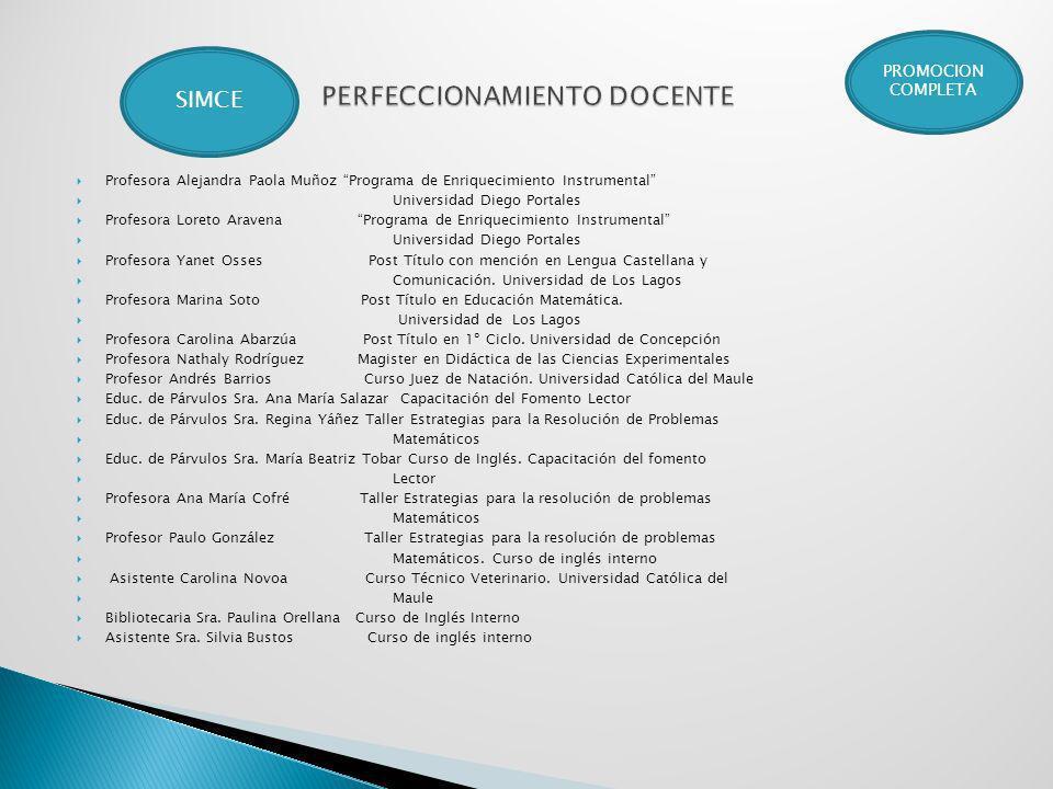 Profesora Alejandra Paola Muñoz Programa de Enriquecimiento Instrumental Universidad Diego Portales Profesora Loreto Aravena Programa de Enriquecimien