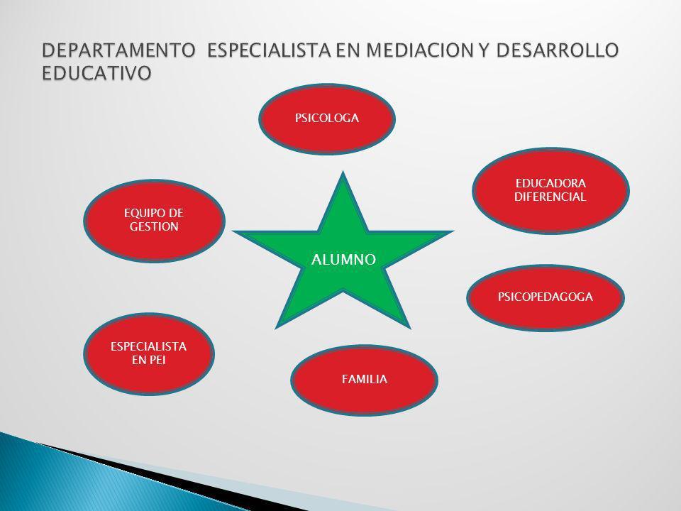 ALUMNO EDUCADORA DIFERENCIAL EQUIPO DE GESTION PSICOLOGA ESPECIALISTA EN PEI PSICOPEDAGOGA FAMILIA