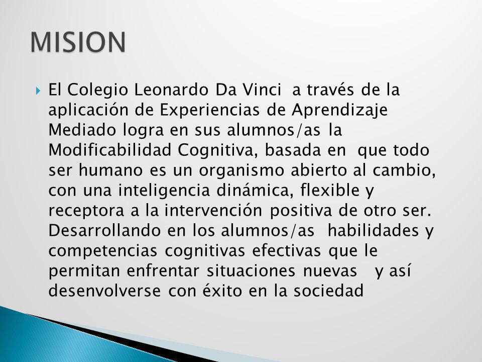 El Colegio Leonardo Da Vinci a través de la aplicación de Experiencias de Aprendizaje Mediado logra en sus alumnos/as la Modificabilidad Cognitiva, ba