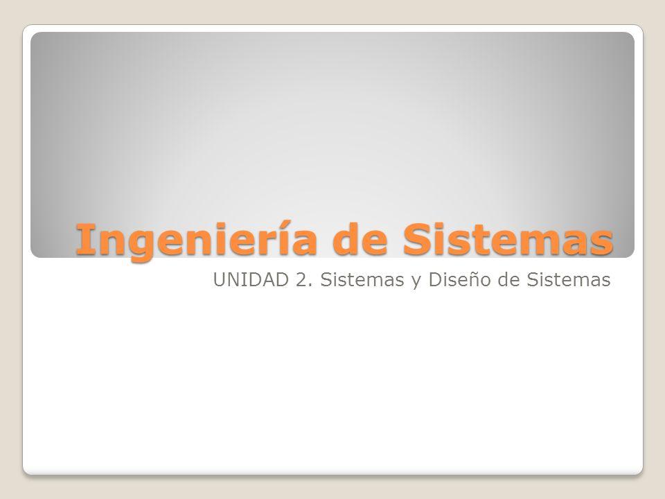 Ingeniería de Sistemas UNIDAD 2. Sistemas y Diseño de Sistemas