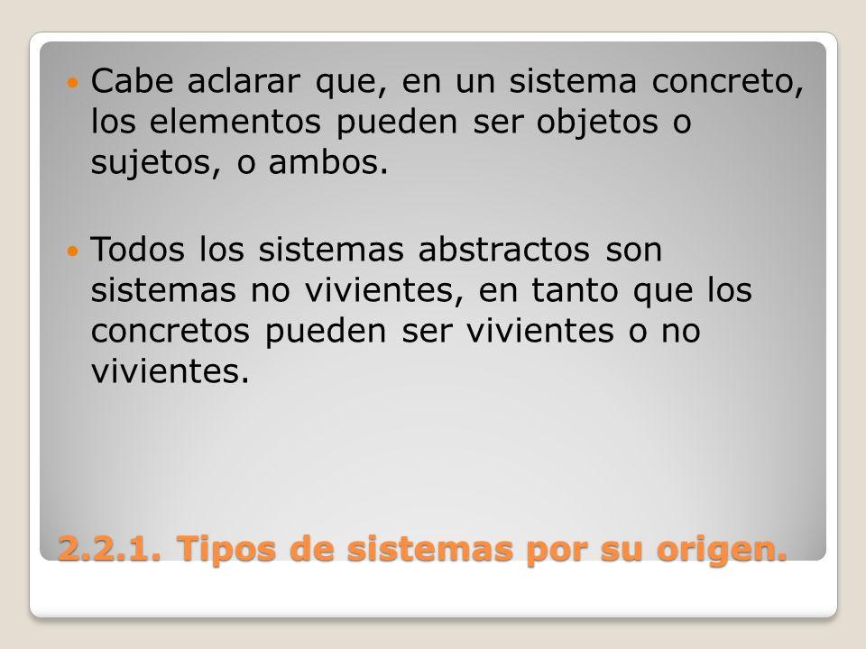 2.2.1. Tipos de sistemas por su origen. Cabe aclarar que, en un sistema concreto, los elementos pueden ser objetos o sujetos, o ambos. Todos los siste
