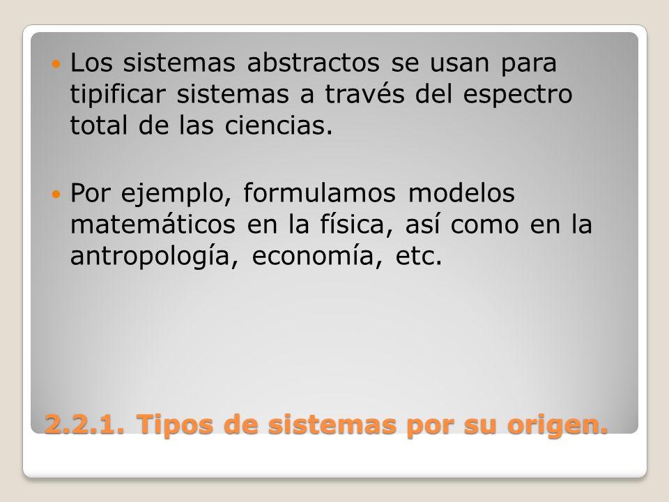 2.2.1. Tipos de sistemas por su origen. Los sistemas abstractos se usan para tipificar sistemas a través del espectro total de las ciencias. Por ejemp