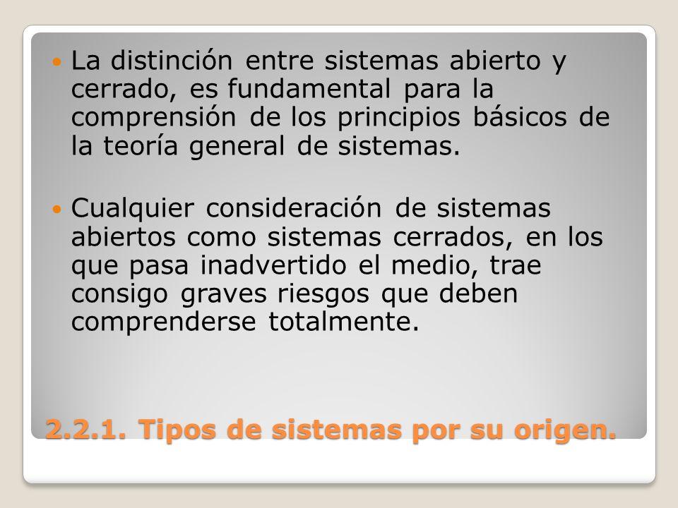2.2.1. Tipos de sistemas por su origen. La distinción entre sistemas abierto y cerrado, es fundamental para la comprensión de los principios básicos d